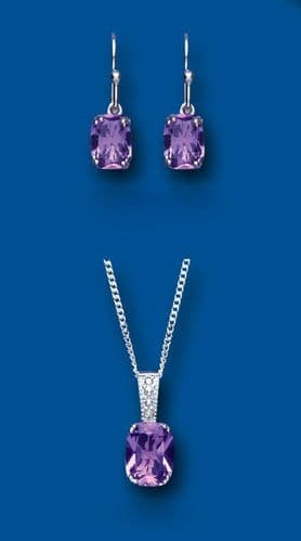 Amethyst and Diamond Pendant and Drop Earrings Set Solid Sterling Silver