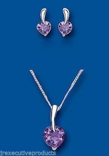 Amethyst Heart Pendant and Earrings Set Solid Silver