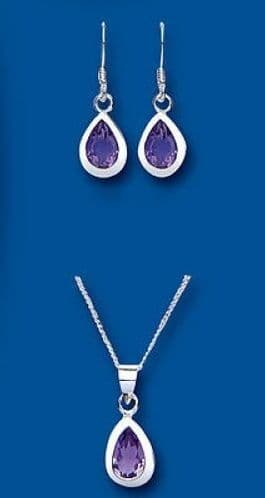 Amethyst Pendant and Drop Earrings Set Solid Sterling Silver