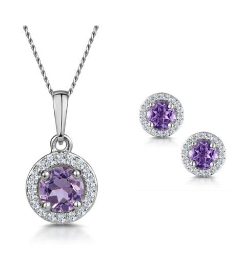 Amethyst Pendant and Earring Set Premium Diamond White Gold Halo Certificate