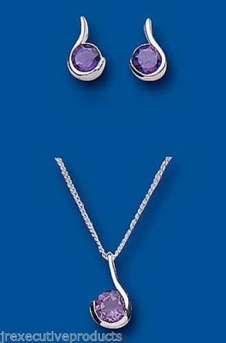 Amethyst Pendant and Earrings Set Solid Silver Round Solitaire