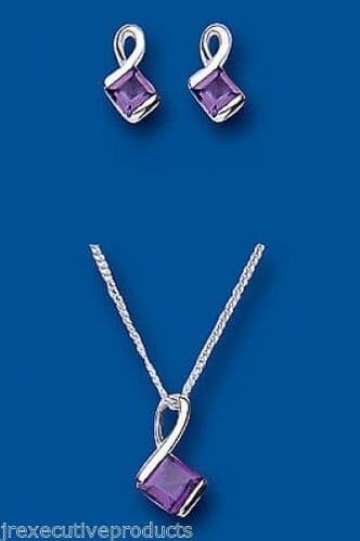 Amethyst Pendant and Earrings Set Solid Silver Square Design