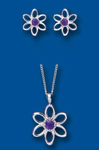 Amethyst Pendant and Earrings Set Solid Sterling Silver Flower Design