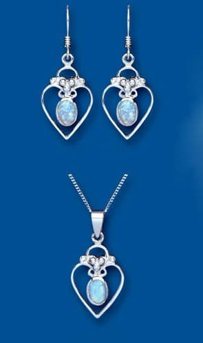 Blue Opal Pendant and Earrings Set Solid Sterling Silver Hearts