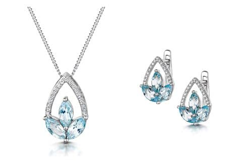 Blue Topaz and Diamond Pendant and Earrings Marquise Set White Gold Certificate