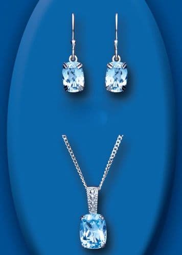 Blue Topaz and Diamond Pendant and Earrings Set Solid Sterling Silver