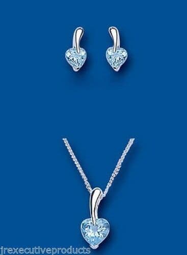 Blue Topaz Heart Pendant and Earrings Set Solid Silver