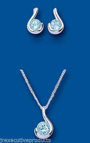 Blue Topaz Pendant and Earrings Set Solid Silver Swirl Design