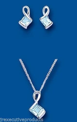 Blue Topaz Squares Pendant and Earrings Set Solid Silver
