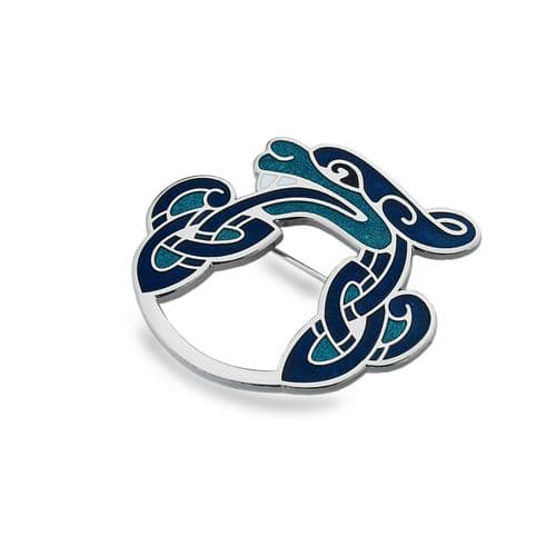 Celtic Dragon Brooch Silver Plated Blue Brand New Gift Packaging