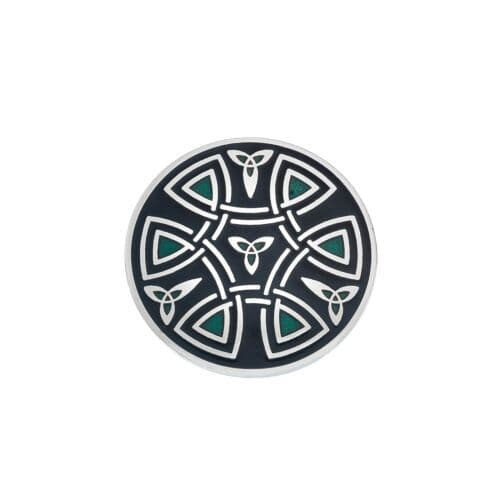 Celtic Trinity Coils Brooch Black Silver Plated Brand New Gift Packaging