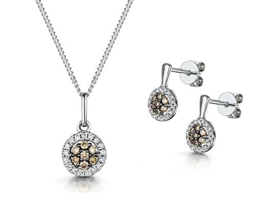 Champagne and White Diamond Pendant & Earrings Set White Gold Certificate