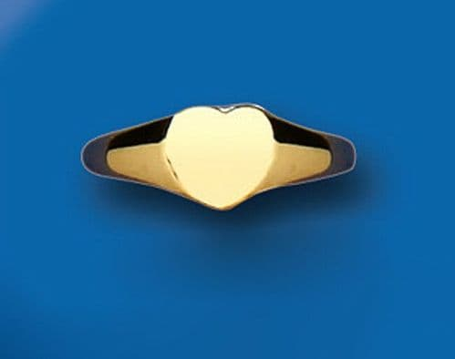 Childs Gold Heart Signet Ring Baby Yellow Gold Hallmarked British Made size A-H