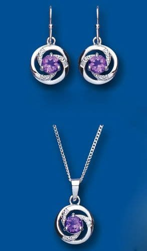 Diamond and Amethyst Set Pendant and Drop Earrings Solid Sterling Silver
