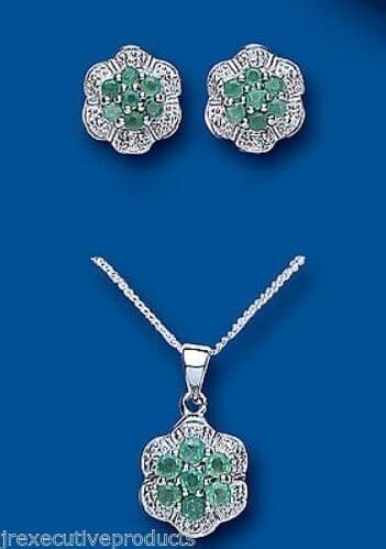 Diamond and Emerald Pendant and Earrings Set Solid Sterling Silver