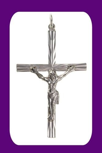 Diamond Cut Silver Crucifix Pendant Sterling Silver 925 Stamp All Chain Lengths