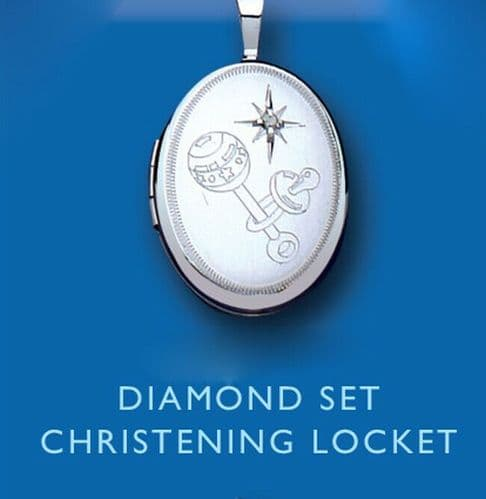 Diamond Silver Christening Locket 925 Hallmark Sterling Silver Baby Jewellery