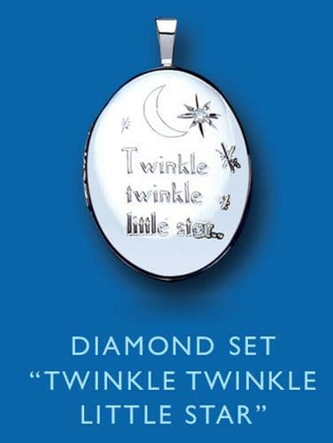 Diamond Silver Christening Locket Twinkle Twinkle Little Star Baby Jewellery