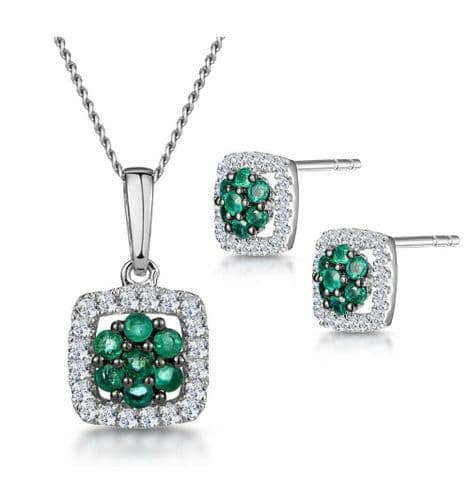 Emerald and Diamond Pendant and Earrings Set Ladies Halo White Gold Certificate