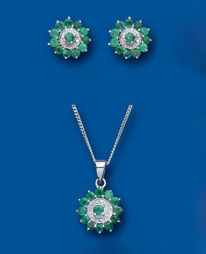 Emerald and Diamond Pendant and Earrings Set Solid Sterling Silver