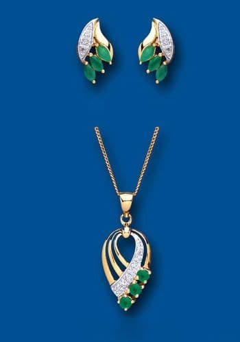 Emerald and Diamond Set Pendant and Earrings Yellow Gold