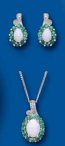 Emerald and Opal Pendant and Earrings Set With Diamond Solid Sterling Silver