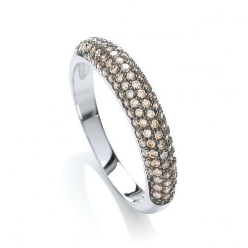 Eternity Ring Solid Silver Dome Shape Band Champagne Gemstone Hallmarked J Jaz
