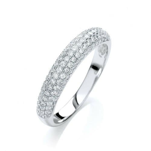Eternity Ring Solid Silver Dome Shape Band Clear Gemstone Hallmarked J Jaz