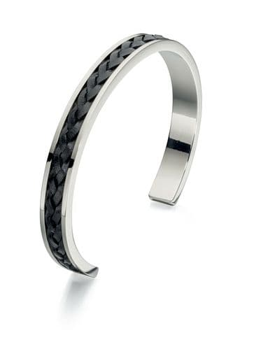 Fred Bennett Stainless Steel Bangle with Plaited Black Leather Insert
