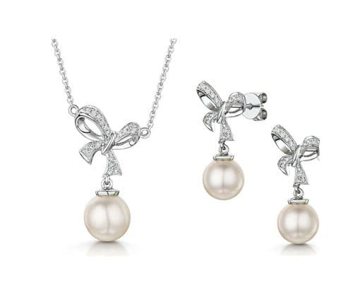 Freshwater Pearl and Diamond Bow Pendant & Earrings Set White Gold Certificate