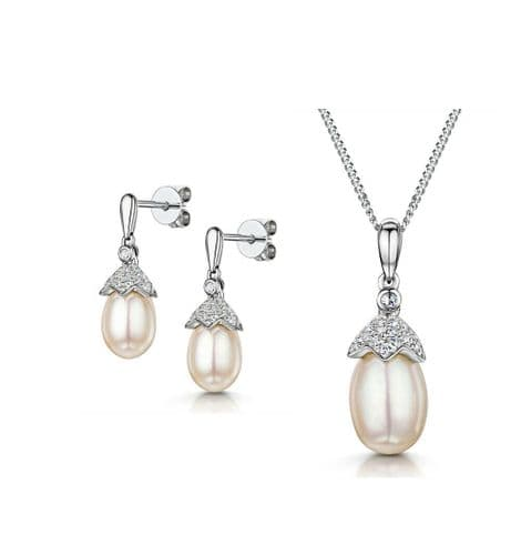 Freshwater Pearl and Diamond Pendant & Earrings Set White Gold Halo Certificate