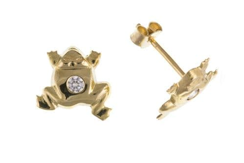 Frog Earrings Yellow Gold Solid 9 Carat Studs