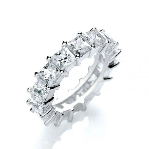 Full Eternity Ring Solid Silver Wedding Band Princess Cut 925 Hallmarked J Jaz