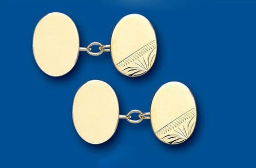 Gold Cufflinks Chained Solid Yellow Gold Oval British Made Hallmarked