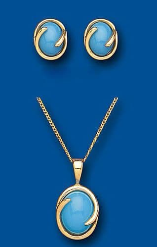 Gold Turquoise Pendant and Earrings Set Solid Yellow Gold Hallmarked