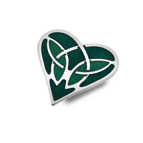 Green Celtic Heart Brooch Silver Plated Brand New Gift Packaging