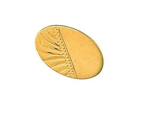 Half Engraved Oval Stick Pin  Y. Gold Made To Order in Jewellery Quarter B''ham