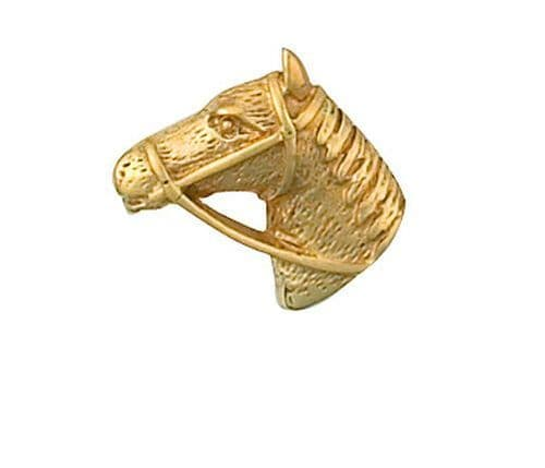 Horses Head Tie Tack Tie Pin Yellow Gold Made in Jewellery Quarter Bham RRP £146