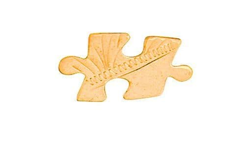 Jigsaw Piece Lapel Pin Cravat Pin Gold Made To Order in Jewellery Quarter B''ham