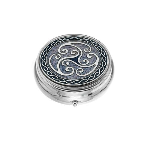 Large Pill Box Silver Plated Celtic Triskele Coils Purple Brand New & Boxed