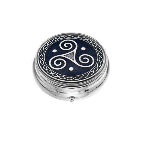 Large Pill Box Silver Plated Celtic Triskele Purple Brand New & Boxed