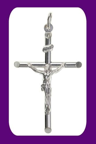 Large Silver Crucifix Pendant Sterling Silver 925 Stamp All Chain Lengths