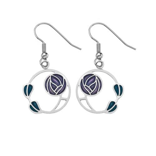 Mackintosh Rose and Leaves Earrings Drop Drops Silver Plated Branded Packaging
