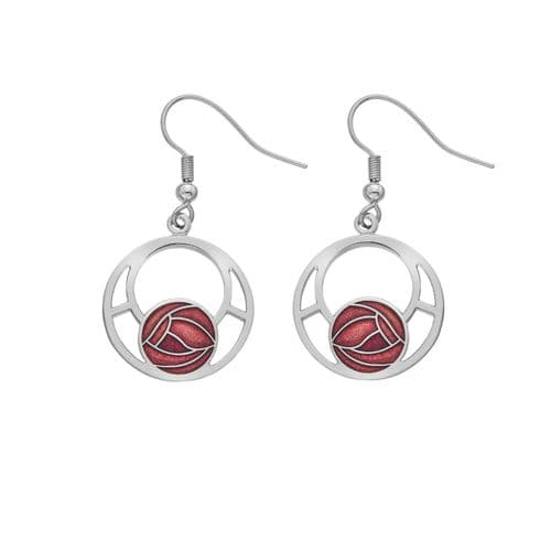 Mackintosh Rose Drop Earrings Round Drops Silver Plated Branded Packaging
