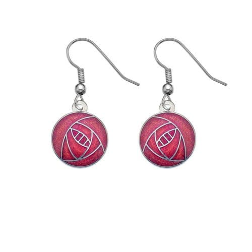 Mackintosh Rose Round Earrings Drop Silver Plated Branded Packaging