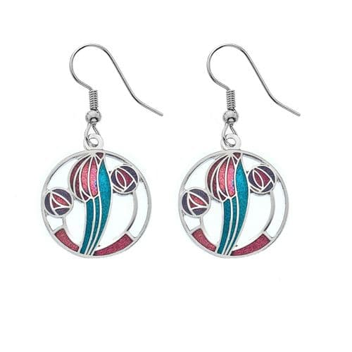 Mackintosh Tulip and Rose Earrings Drop Drops Silver Plated Branded Packaging