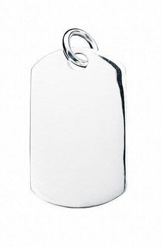 Men's Dog Tag Pendant Necklace Gents Solid Sterling Silver Pendant