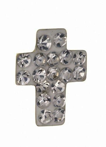 Mens Cross Earring Crystal Stud Solid Yellow Gold