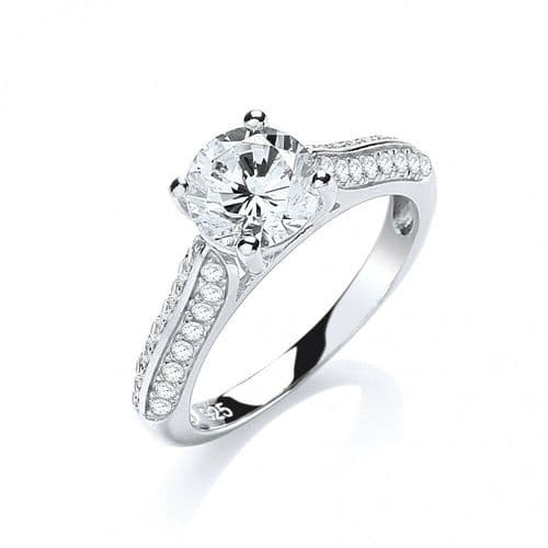 One Carat Solitaire Ring Solid Silver 925 Hallmarked Dazzling Engagement J Jaz