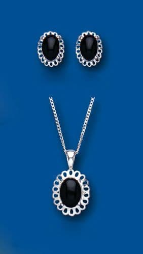 Onyx Pendant and Earrings Set Solid Silver Jewellery Set